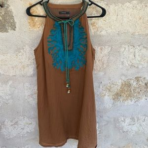 Brown and turquoise western embellished dress sz s